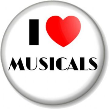 I Love / Heart MUSICALS Pinback Button Badge Musical Theatre Show Tunes Music